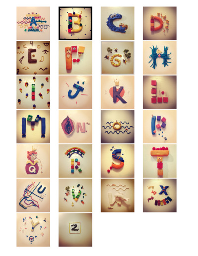 goodtypography:  A fun, colorful alphabet with some twisted little stories!  Here is Playphabet!