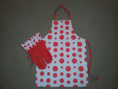 My new red polka dot apron with matching gloves!!!