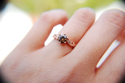 She said YES!! 100% One-of-a-Kind, Custom Designed, Handmade, 14k Rose Gold band with 0.70 carat Champagne-Chocolate Round Diamond :)