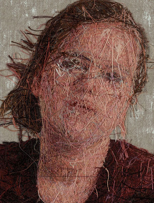 booooooom:  The backside of one of Cayce Zavaglia's embroidered portraits.