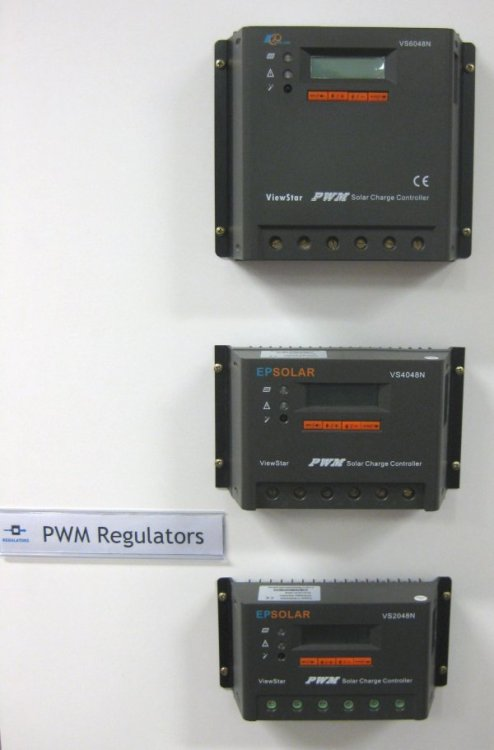 PWM solar charge controllers (regulators) Support multiple voltage levels 12V, 24V, 36V and 48V. The work directly at the battery level. No MPPT function present.  They are available in 20A, 40A and 60A versions. These regulators are suitable for installations with a sufficiant sunshine when there is no or little need for MPPT function.