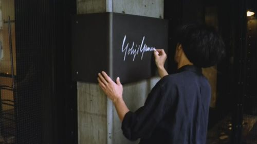 "Yohji Yamamoto signing one of his stores; ""Notebook on cities and clothes"", Wim Wenders"