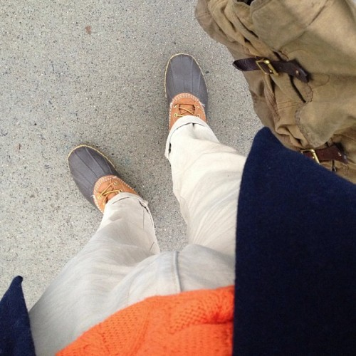 Orange you glad I dressed warm? #prep #preppy #trad #fashion #style #iamwearing #whatiwore #ootd #ootn #orange #navy #boots #wiwt #coat #lookingdown #menswear #mensstyle #rainy