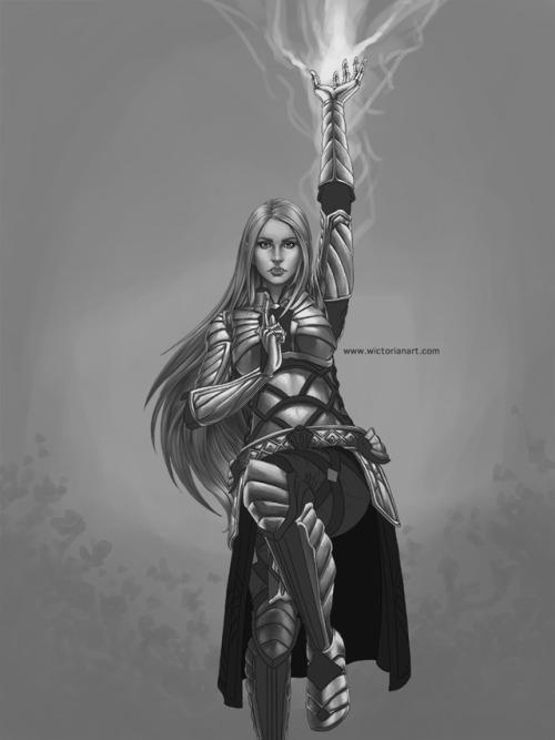 the elder scrolls online woman fairy half human art digitalart greyscale painting digital painting illustration drawing digital drawing fantasy warrior armour shiny magic power lightning