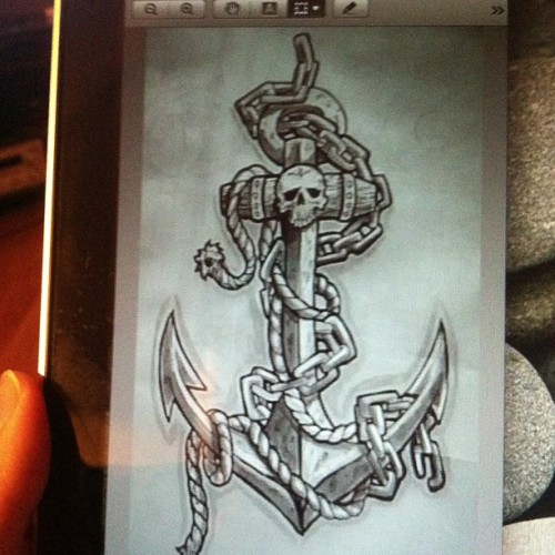 california-alpha:  Possible tattoo idea. Anchor for my dad. And @engellein 😁😁 #anchor #tattoo #usn #navy #nautical #usnavy #dad
