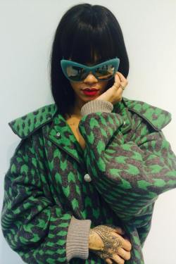 """leauxnoir:   """"Whats ur name again?"""" """"Bitch, don't try me. I am Rihanna. In Stella McCartney. Glasses, check those out. I've got my coat.."""""""