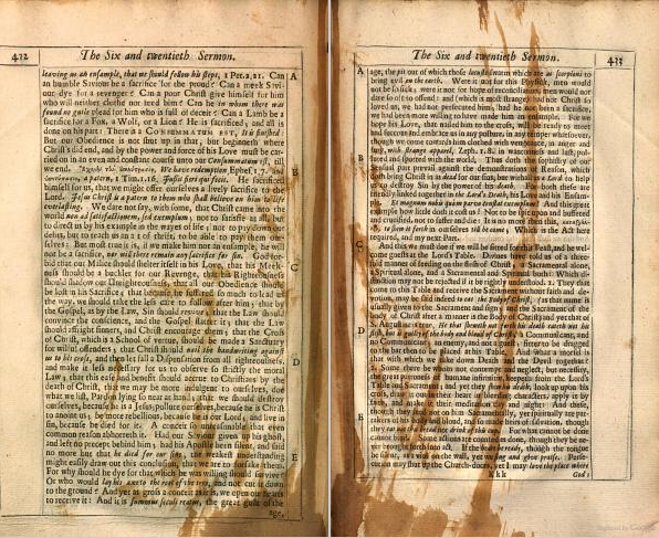Spilled ink. From p. 432-33 of Forty Sermons Preached at the Parish-Church of St. Mary Magdalene, Milk-street, London by Anthony Farindon (1663). Original from the University of California. Digitized August 18, 2011.