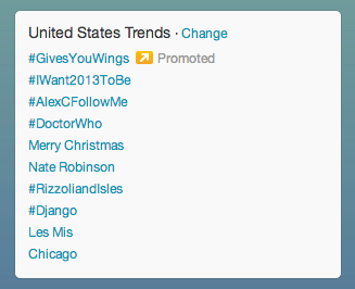 Doctor Who trending high in the US section tonight! =]
