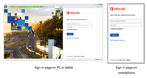 Office 365 Responsive Sign-In