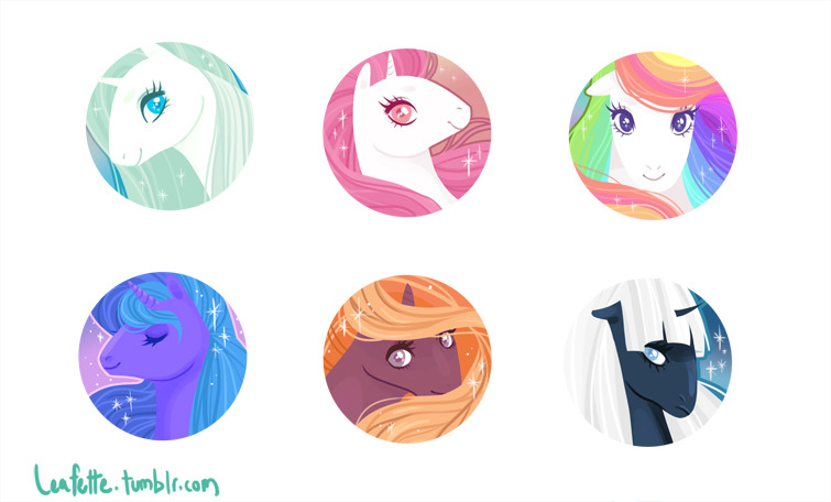 Some pony stickers I'm going to have for AX. I would totally make them into buttons if I could afford a button press.