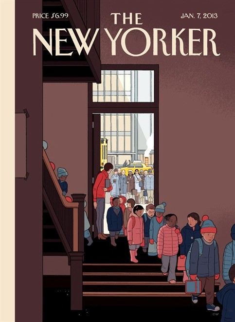 explore-blog:  Could this New Yorker cover by Chris Ware, the magazine's first first 2013, be any more brilliant? No, probably not.