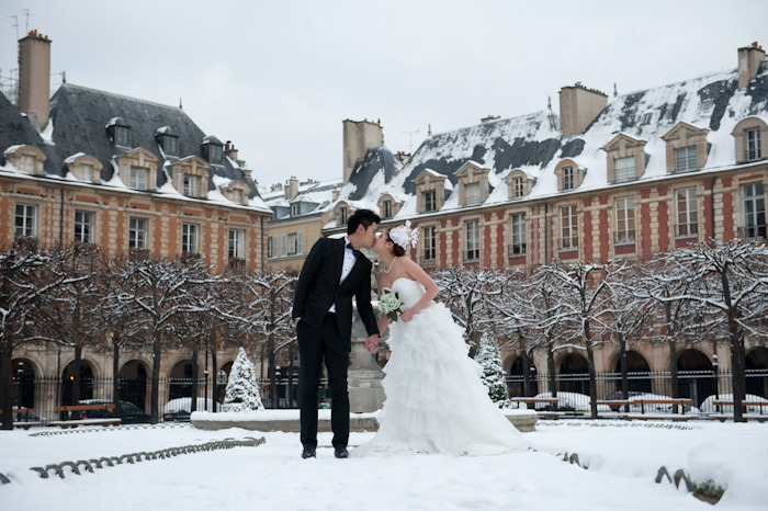 It is rare to see snow in Paris, and even more rare having the opportunity to take the wedding photos of a couple from Hong Kong in the snow in Paris. It was worth navigating icy roads at 8 a.m. to get these shots. Thanks Jessica and Cyrus! A photo session I'll never forget.