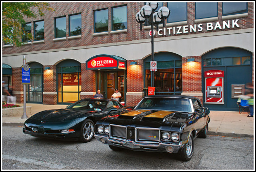 Me & my stepson Starring: chevrolet Corvette and Oldsmobile Cutlass 442 (by sjb4photos)