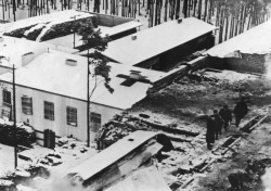 Four Finnish hospital roofs that were damaged during a Soviet air raid.