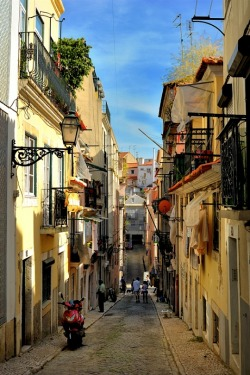 ysvoice:  | ♕ |  Lovely old alley in Lisbon  | by © Sunsword