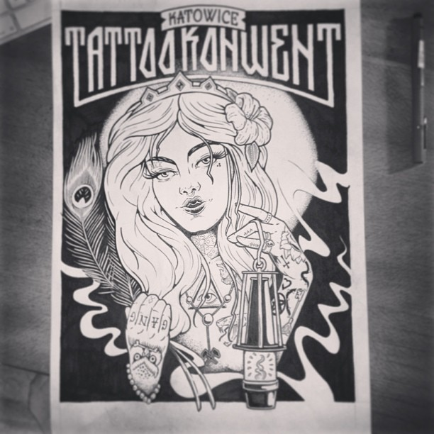 #katowice #tattoo #convention #2013 #illustration #ink #poster #aaaghr #handmade #girl with#tattoos #saint