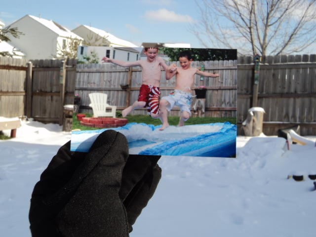 Dear Photograph, My boys have the winter time blues. Snow has finally arrived in Columbus, Ohio and they are already asking when will we be setting up the pool in the backyard again…I'm thinking it will be a while… Dabir