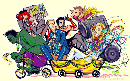 theopteryx:  yuletart:  laissez les…avengers roulez?  Yuletart 2012 art by theopteryx  Here's my second piece for Yuletart this year! The prompt was the Avengers + Mardi Gras, an idea that combines two of my favorite things and continues to delight me. I want to party with Thor real bad. Happy New Year, everybody!