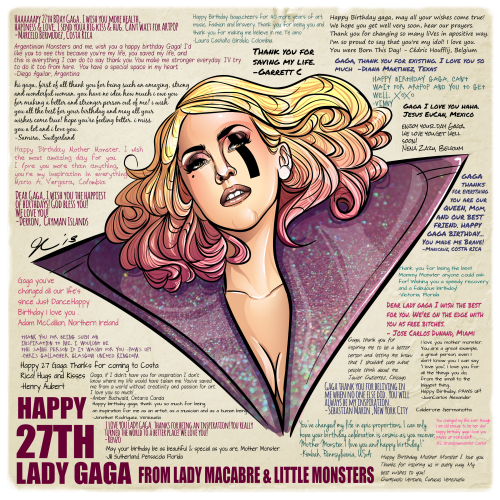 ladymacabre:  Happy Birthday Lady Gaga! Thanks to all the Little Monsters for helping me out with this project!