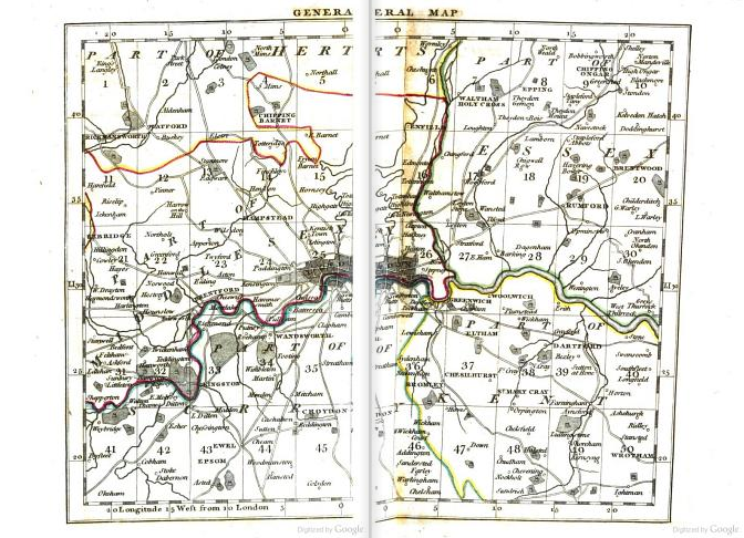 Map severed by digital gutter. The frontispiece to Cary's Actual Survey of the Country Fifteen Miles Round London by John Cary (1786). Original from Oxford University. Digitized April 26, 2007.