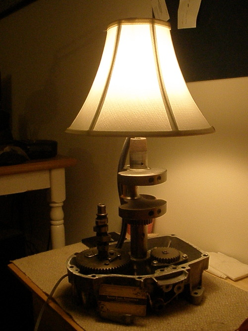 This small engine lamp fits nicely on an end table or night stand. For sale on Etsy. https://www.etsy.com/listing/128560197/small-engine-lamp?ref=shop_home_active