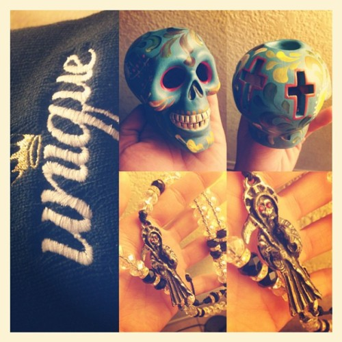 Dope finds in #Tucson 👍💎 #dayofthedead #crystal #necklace #skull #candleholder #unique #beanie #dope #fresh #things
