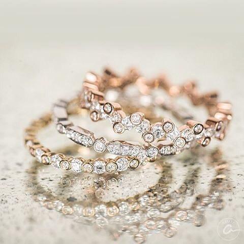 yellowgold ringparty diamondbands stackables abrajewelry rosegold diamonds ajaffe anniversarybands blackdiamonds