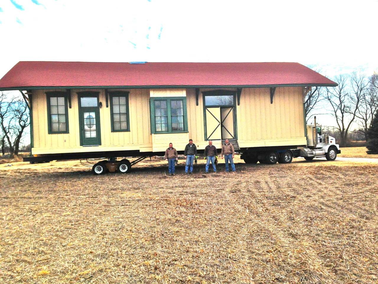 Unruh House Moving boys, James, Shelby, Monroe and Dwayne are experts. The circa 1879 Santa Fe depot, originally from Oxford, Kansas was acquired by Bill and Sammye VanderWall in the 1990s. It was restored and used as a ceramics studio for Sammye's pottery work. Relocated on Feb. 4, 2013 to Bartlett Arboretum, it will now be utilized as an educational classroom, workshop retreat space and will be a memorial to Sammye VanderWall's creative spirit. The dedication of this extraordinary building and gift is planned for Oct. 13 with a piano performance by Grammy nominee, Phil Aaberg.