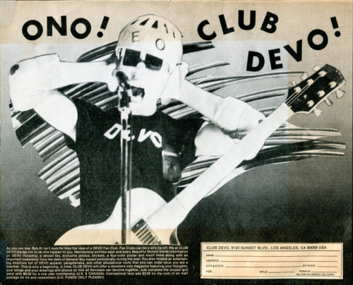 zombiesenelghetto:  Club Devo (based in L.A.), fan club flyer via