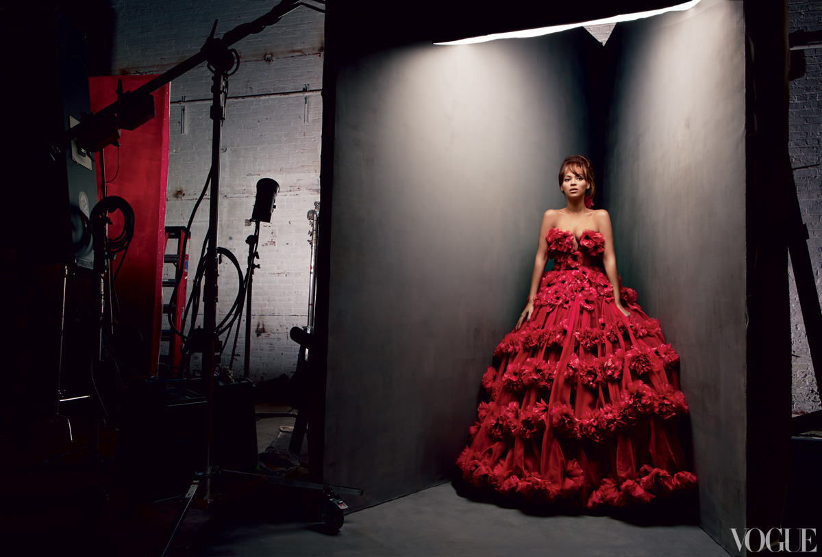 Beyoncé under the lights in an Alexander McQueen red organza dress with 3-D flower embroidery.Photographed by Patrick Demarchelier See more photos from Beyoncé's cover shoot here.
