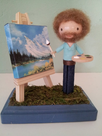 etsy:  Bob Ross Clothespin Doll by LittleBun. Time to paint some happy little trees!