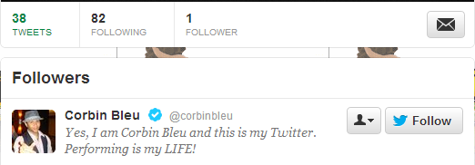 bradtitt:  i logged into my old twitter account and my only follower is corbin bleu