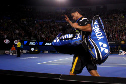 Lleyton Hewitt's record 17th consecutive Australian Open campaign ended in a 7-6 (4), 7-5, 6-3 first-round loss to eighth-seeded Janko Tipsarevic of Serbia on Monday night. The former No. 1 player qualified for his first Australian Open when he was 15. He will turn 32 next month. Nobody in the Open era has played more consecutive Australian Opens than Hewitt, a U.S. Open and Wimbledon champion. The closest Hewitt has come to ending a drought for local men that dates to 1976 at the national championship was when he lost the 2005 final to Russia's Marat Safin.