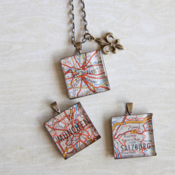 Kathy O Map Necklaces - Paris, Munich, and Salzburg - where do you want to go today?