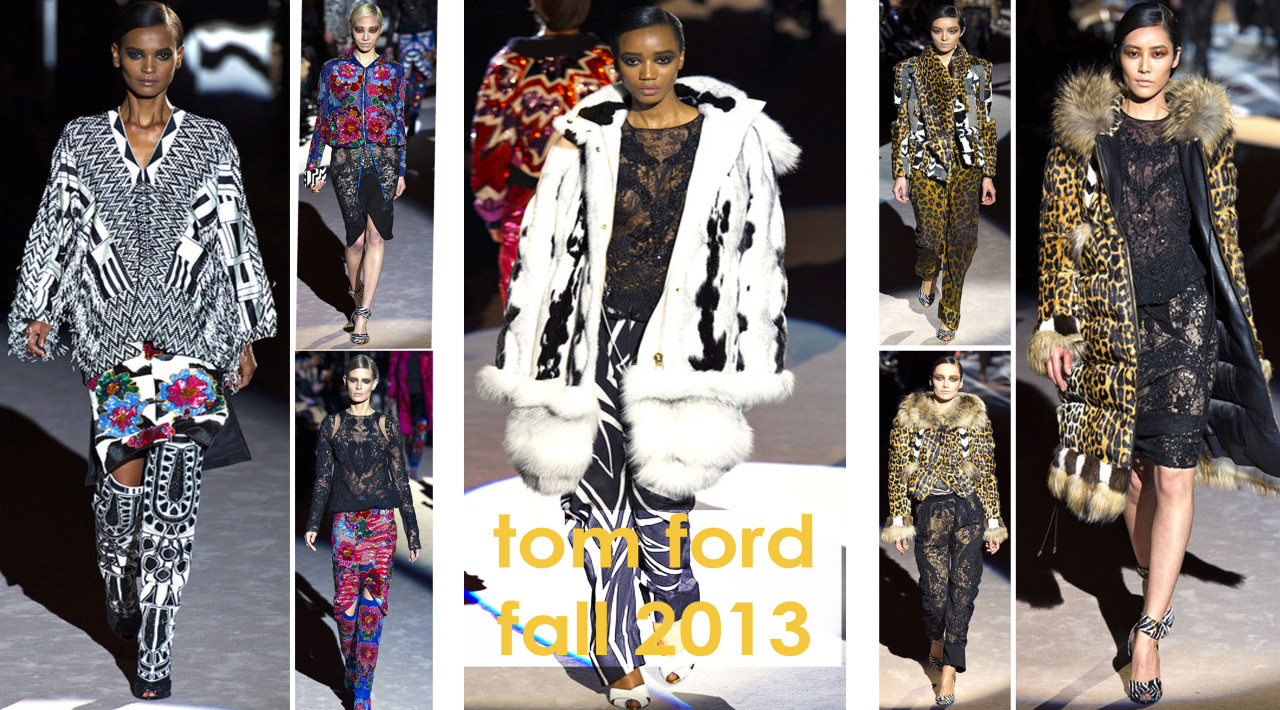 The Style Monk's View: Tom Ford is back to doing public shows and made sure you knew that he is here to stay. The collection for Fall 2013, was filled with opulence, bold colors and graphic black and white. There was plenty of lace, beading and layers of cleverly patchworks of fur. It was by far one my favorite collections this season. He showed his traditional glam instead of the trending menswear fabric which was predictable. I am happy he is back for we need a lil glamour in these new times of change.  The Style Monk