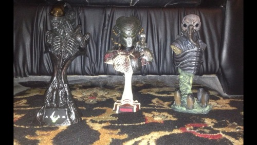 Elderpredator submitted:  Sideshow's 1/4 Scale Alien and Predator busts and a custom Space Jockey