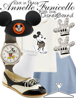 disneybound:  Now it's time to say good-bye to all our company…M-I-C…See you real soon! K-E-Y…Why? Because we like you!M-O-U-S-E! RIP Annette Funicello