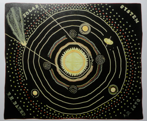 Solar system quilt, made by astronomer Ellen Harding Baker of Cedar County, Iowa in 1876 – early citizen science meets science-inspired art.