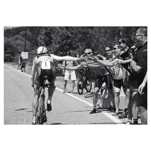 Jens Voigt doing hi fives up the TT climb yesterday at @amgentourofcali emily_maye, instagram.com