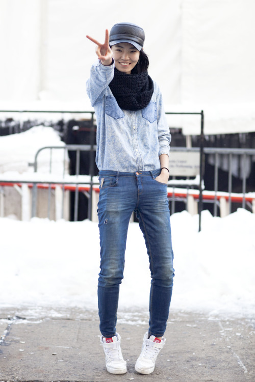 Li Bing (@RootMgt) outside the tents NYFW FW13, February 2013. Love her denim or denim tomboy look. And the kicks. You can't go wrong with that.  Check out her portfolio here or above. Crazy how fashion transforms us, huh?