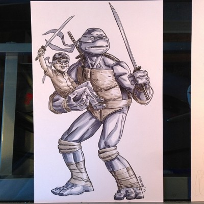 ryanbrowneart:  Turtle plus child finished.
