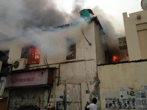 #Bahrain - #Sitra: Picture of the burning home because of the violent suppression by the mercenary forces, 6/4/2013 ..