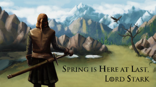 Got excited thinking about Season 3, so here, have an homage to Ned Stark. I figure in the afterlife, he doesn't need to worry about Winter anymore.