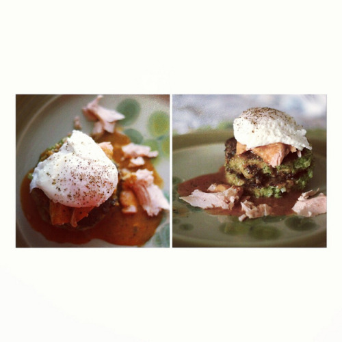 "Broccoli Fritters with Tea-Poached Salmon, Poached Egg & Spicy Miso Hollandaise by Terin Talarico on Flickr Ingredients for Fritters: (makes 8-10 fritters): 3 large heads of broccoli, 1/2 diced white onion, 2 eggs, 1 cup rice flour, 4 cloves minced garlic, pepper to taste. Ingredients for Salmon: 2 bags green or black tea, 2 large filets of salmon Ingredients for Miso Hollandaise: 1 thinly sliced spring onion, 4 cloves garlic, 2 tbsp unsalted butter, 1/4 cup miso paste, 1 tbsp spicy red bean paste, 1 egg yolk, 1 lime juice and 1 1/2 cups water. Additionally, you'll need a poached egg for each fritter (or you can double up on fritters, like we did!)  Broccoli Fritters: Steam your chopped broccoli for about seven minutes (I did this in the microwave with a wet paper towel); the broccoli should be tender and still a bright green colour.  Throw your broccoli in the food processor along with your diced white  onion.In a large bowl, mix your minced garlic, egg, salt and pepper. Then mix the flour and baking powder into the egg mixture. Now you can add the riced broccoli and onion. At this point, I was mixing with my hands for a uniform texture.Heat about 1/4 inch of oil in a large skillet over medium and when the oil is hot, drop about 1/4 cup of batter into the skillet and flatten to about 1/2 inch thick. I wouldn't recommend more than 3 fritters in your pan. When the fritter begins to blacken, flip your fritter (about 4 minutes each side). Miso Hollandaise: In a small sauce pan, fry up your spring onion in some oil until softened.  Then add garlic and butter and cook for about 3 more minutes.  Add the miso and spicy red bean paste, mixing well.  Add 1 cup of water until uniform.  Then put this mixture through a small hand blender.  Return to saucepan, add 1/2 cup water, whisk in egg yolk and lime juice, whisking vigorously, as to not let the egg get chunky.  Before serving, strain through mesh strainer. This hollandaise forms a skin quickly, so keep it on heat until you're plating the meal. Tea Poached Salmon: poach 4-7 minutes over medium with 2 bags of green or black tea and some lime juice. Poached eggs: Use Google or YouTube for a ""perfect poached eggs"" method; I like using a small dish and a bit of vinegar!"