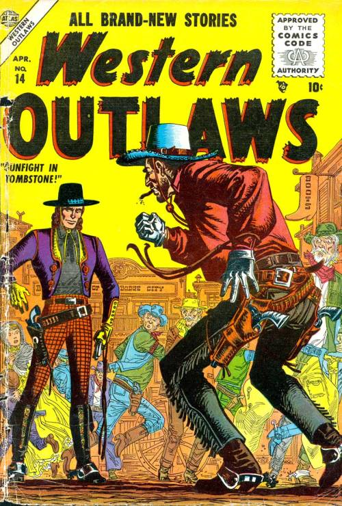 (via Pencil Ink - vintage comic book art blog 1940s-1990s: Western Outlaws #14 - Al Williamson art)  cover - Joe Maneely