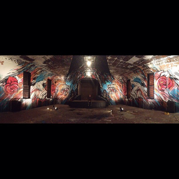 houseofmeggs:  Panorama. Abandoned church reinvention project with @artwhino in Washington DC, May 2013. #meggs #houseofmeggs #artwhino #church #mural #dc #g40