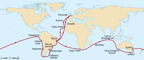 mapsontheweb:  Charles Darwin's voyage on The Beagle