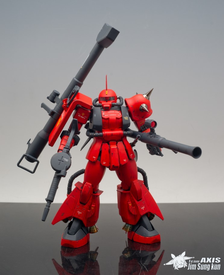 funnels-launch:  gunjap:  MG 1/100 MS-06R-2 Zaku II J. Ridden Custom: Modeled by chrom20. Full photoreview No.16 Big or Wallpaper Size Imageshttp://www.gunjap.net/site/?p=124880  God bless the Ridden man  I also painted my MG's spikes gold, for some reason. It's kind of a muted bronze. I don't know why I committed such heresy but it looks good and I've got a boatload of yellow spikes already.