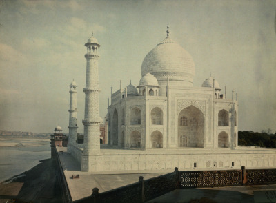 natgeofound:  A view of the Taj Mahal on the Jumna River, 1923. Photograph by Jules Gervais Courtellemont, National Geographic