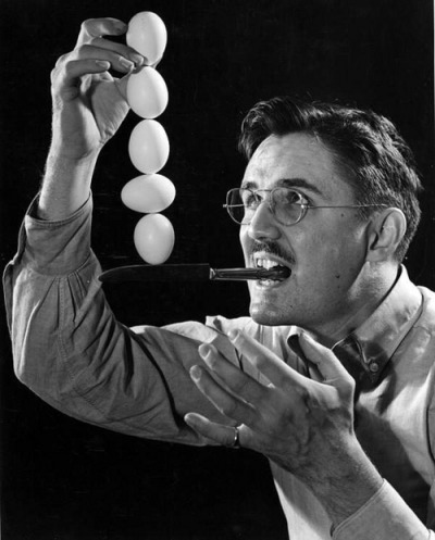 Joseph Steinmetz doing an egg balancing trick by State Library and Archives of Florida on Flickr.
